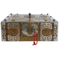 Wood Coffer Box with Mixed Metal Overlay and Original Key