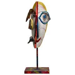 Wood Collage Multicolor Sculptural Figure Face, 21st Century by Mattia Biagi