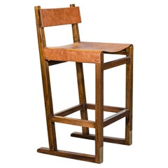 Wood Counter Stool with Slung Leather Seat and Bronze from Costantini, Piero
