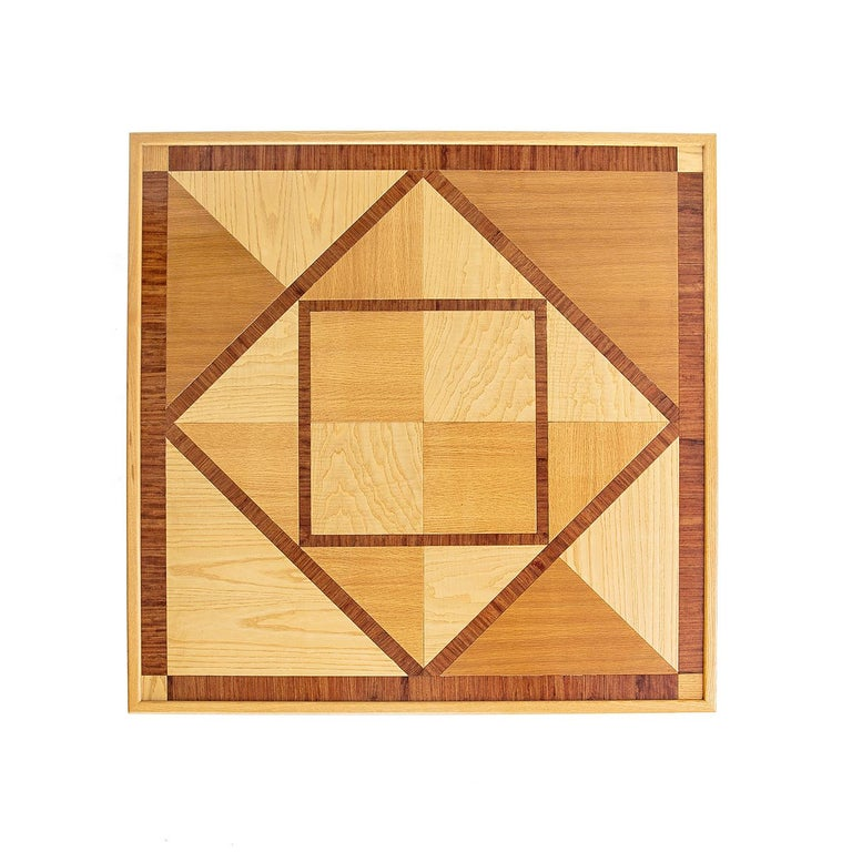 Italian Wood Dining Table with Geometric Inlay For Sale