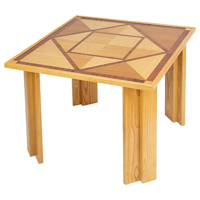 Wood Dining Table with Geometric Inlay For Sale