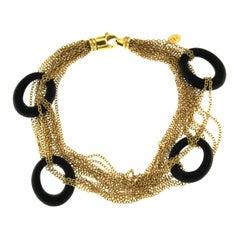Wood Ebony Bracelet 18 Karat Yellow Gold