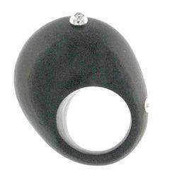 Wood Ebony Ring 18 Karat White Gold and White Diamond