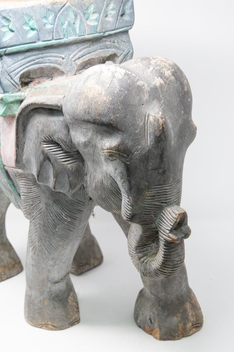 Hand-Carved Wood Elephant Hand Carved Plant Stand For Sale