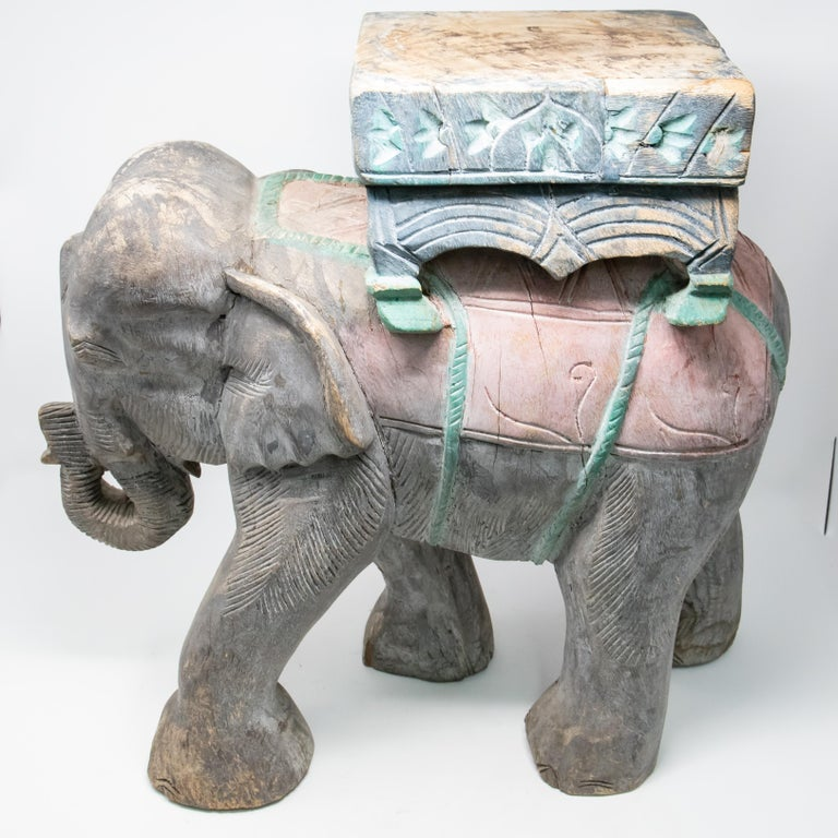 Wood Elephant Hand Carved Plant Stand For Sale 2