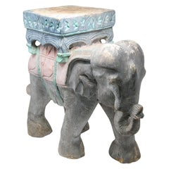 Wood Elephant Hand Carved Plant Stand