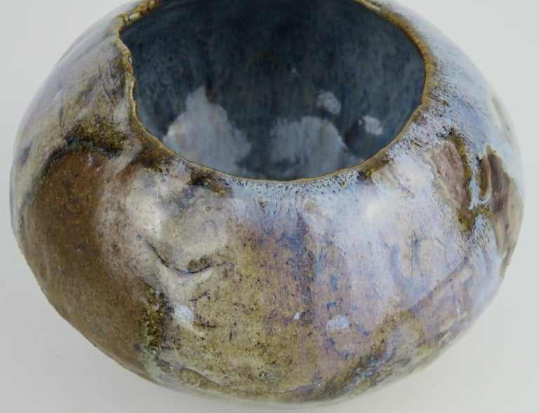 Wood-Fired Hand Coiled Ceramic Bowl with Blue Glaze by Helena Starcevic In New Condition For Sale In New York, NY