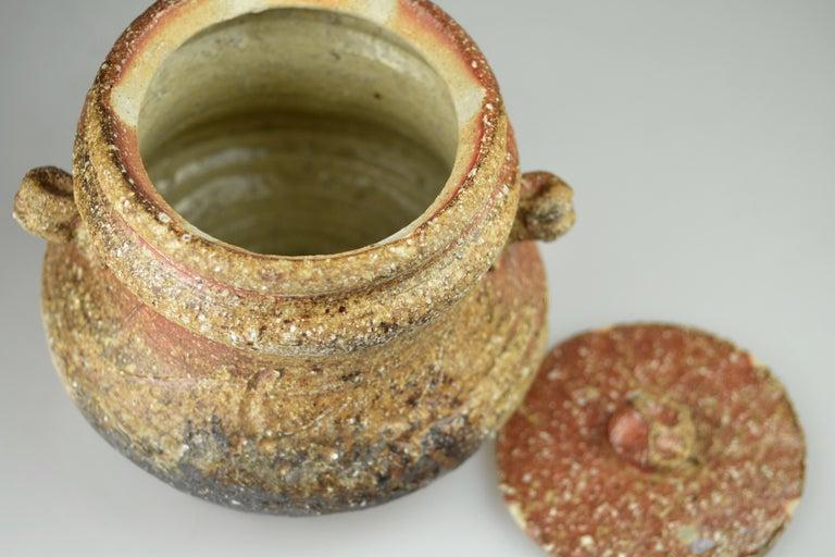 Stoneware Wood-Fired Lidded Jar Brown Ash Glaze Shigaraki by Takahashi Rakusai IV For Sale