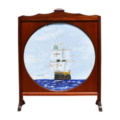 Wood Fireplace Screen with Painted Nautical Yacht Scene on Canvas