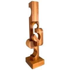 Wood Folkart Modern Geometric Sculpture