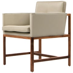 Wood Frame Armchair in Solid Walnut and Leather Designed by Craig Bassam