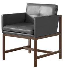 Wood Frame Armchair in Walnut, Black Oil and Leather Designed by Craig Bassam