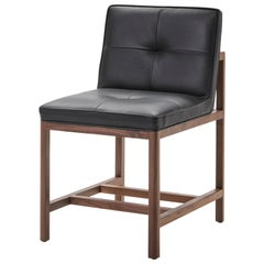 Wood Frame Armless Chair Petit in Walnut and Leather Designed by Craig Bassam