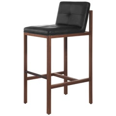 Wood Frame Bar Stool in Walnut and Leather Designed by Craig Bassam