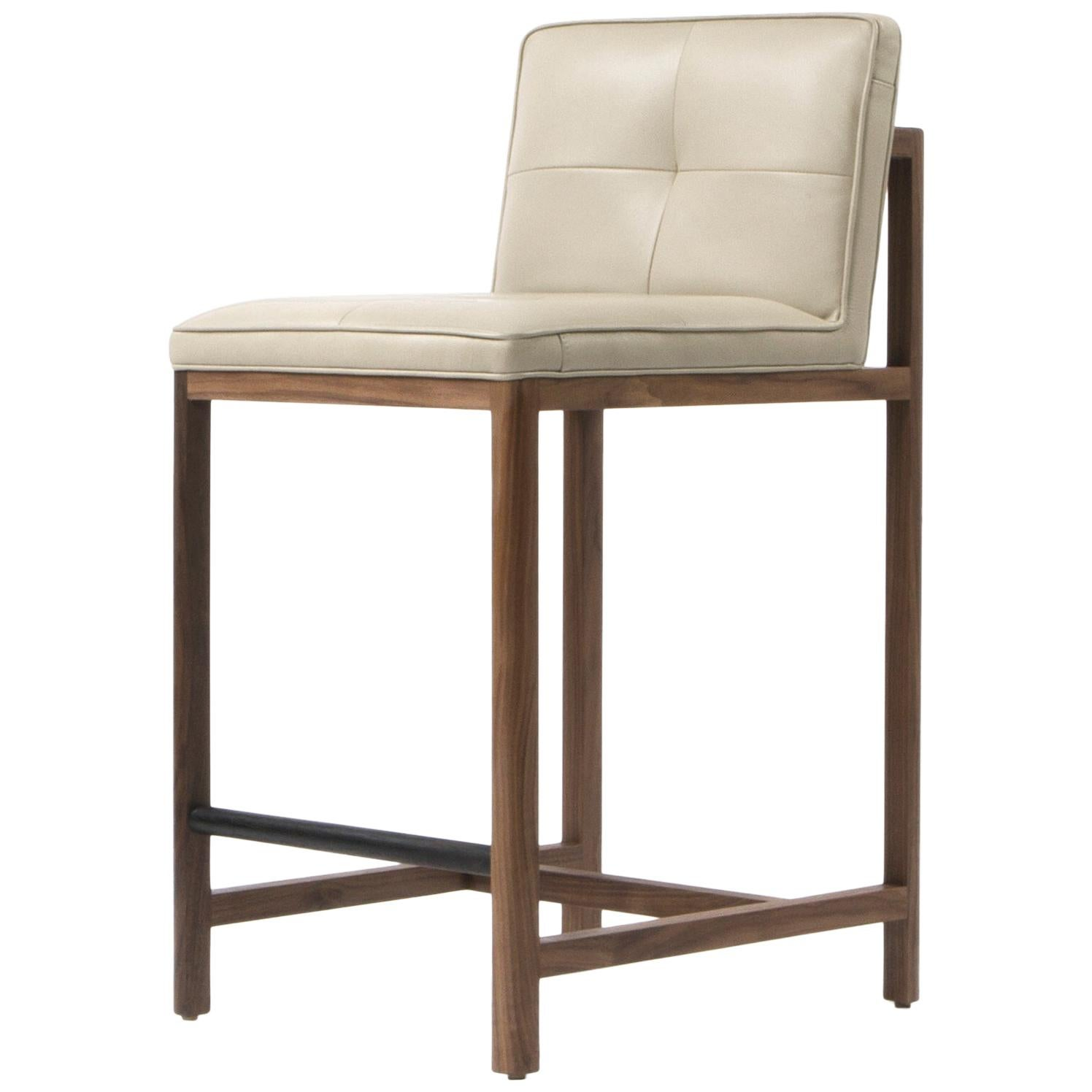 Wood Frame Counter Stool in Walnut and Leather Designed by Craig Bassam