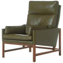 Wood Frame High Back Lounge Chair in Walnut and Leather Designed by Craig Bassam