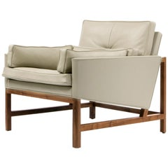 Wood Frame Low Back Lounge Chair in Walnut and Leather Designed by Craig Bassam
