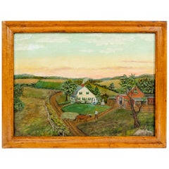 Wood Frame Mid-20th Century Oil / Board Painting
