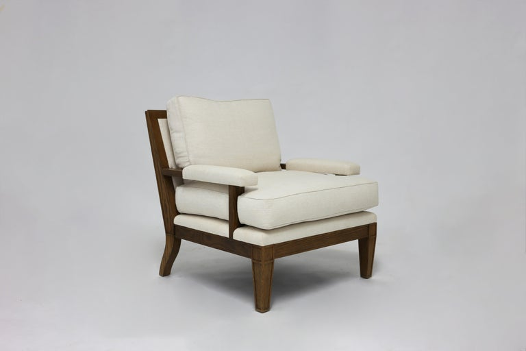 American Classical Wood Framed Chair with Loose Back and Seat Cushions For Sale