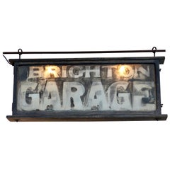 Wood Framed Glass Two-Sided Electric Sign, circa 1930