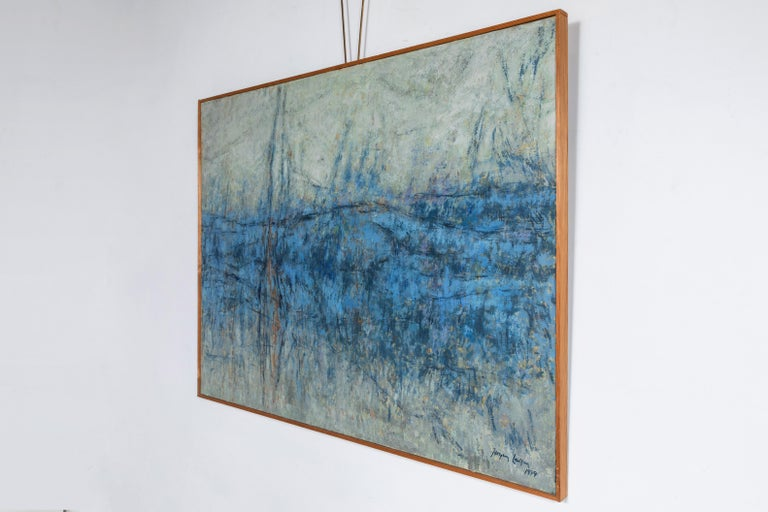 Wood Framed Large Blue and White Landscape Painting For Sale 2