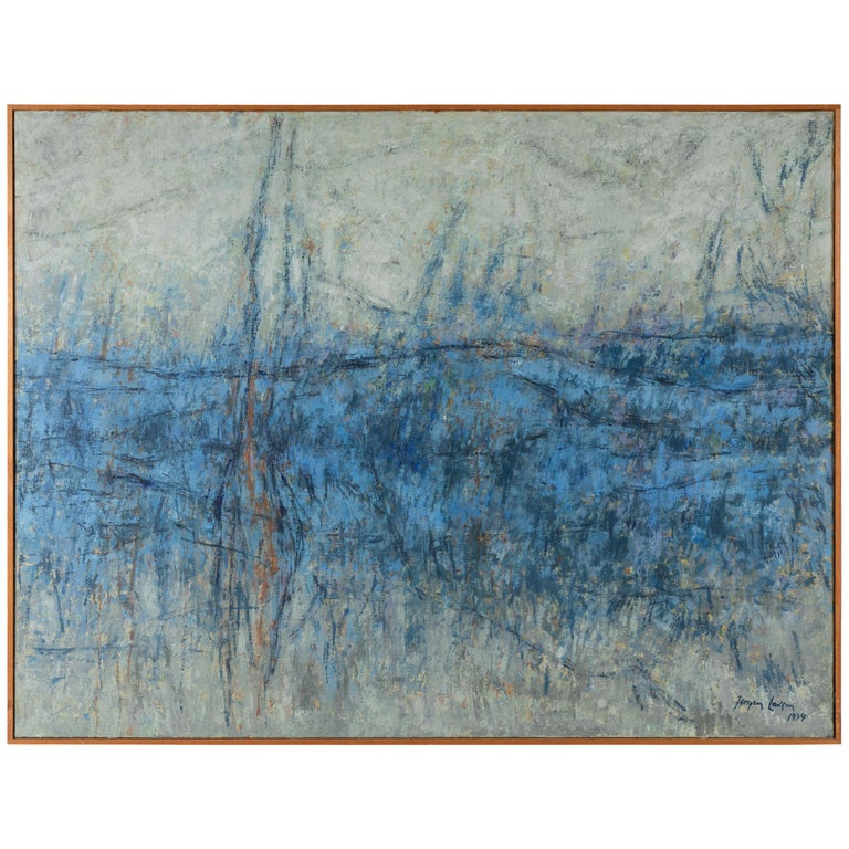 Wood Framed Large Blue and White Landscape Painting For Sale