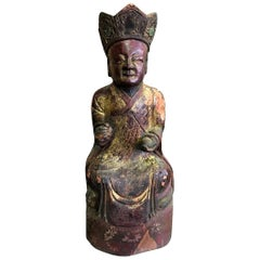 Wood, Gilt and Polychrome Carved Chinese Asian Temple Shrine Ancestral Figure