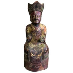 Wood, Gilt and Polychrome Carved Chinese Temple Shrine Ancestral Figure