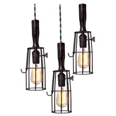 Wood Handle Cage Lamp