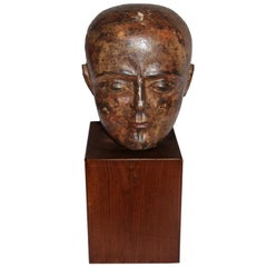 19th Century Colonial Indian Wood Head