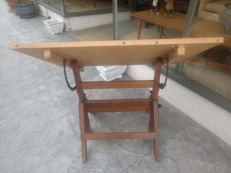 Wood & Iron Adjustable Drafting Table, circa 1950 2
