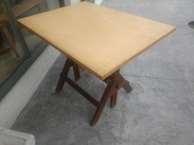 Stained Wood & Iron Adjustable Drafting Table, circa 1950