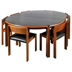 Wood, Leather and Formica Dining Room Set for 10 People by Churba, Argentina