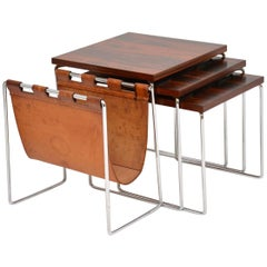 Wood, Leather and Chrome Nesting Tables by Brabantus