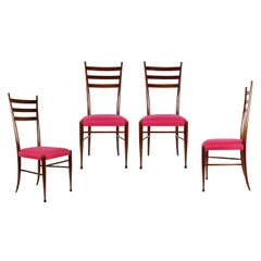 Wood & Magenta Fabric Seat 1950s Dining Chairs by Paolo Buffa, Set of 4