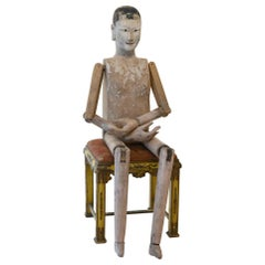 Wood Mannequin from Kanton, China circa 1900 Original Painting