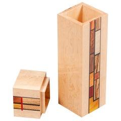 Wood Mosaic Mondrian Inspired Art Box
