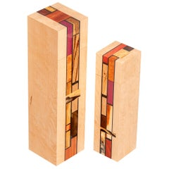 Wood Mosaic Mondrian Inspired Art Boxes