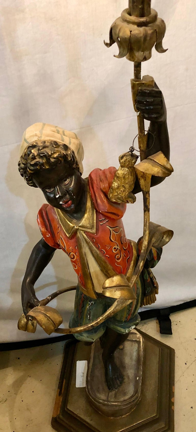 Baroque Wood Nubian Paint Decorated Standing or Table Lamp For Sale
