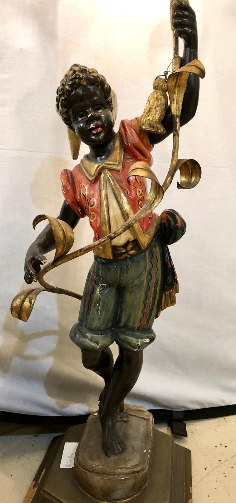 Wood Nubian Paint Decorated Standing or Table Lamp In Good Condition For Sale In Stamford, CT