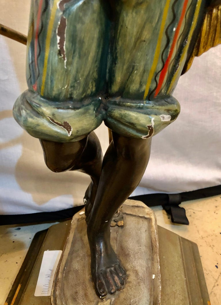 Wood Nubian Paint Decorated Standing or Table Lamp For Sale 4
