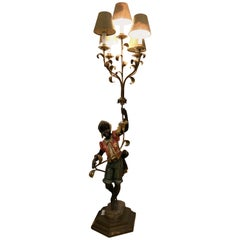 Figural Wood Paint Decorated Standing or Table Lamp