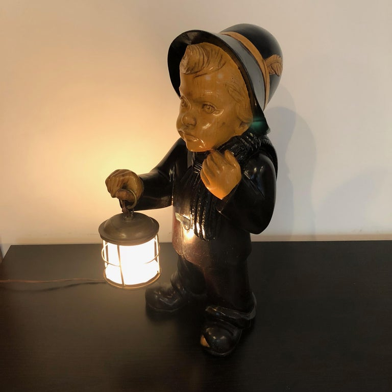Wood Orphan Child Lantern Table Lamp by Aldo Tura for Macabo, Italy, 1950s In Good Condition For Sale In Rome, IT