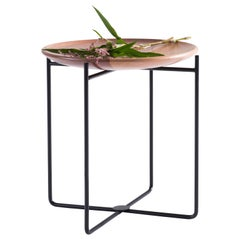 Wood Ottoman Side Table in Natural Wood and Carbon Steel