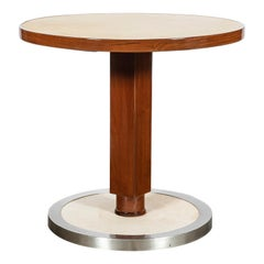 Wood, Parchment and Chrome Metal Table by Nordiska, Argentina, circa 1950