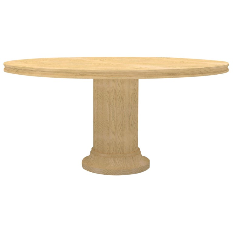 Wood Pedestal Dining Table with Carved Base and Wood Top with Carved Edge For Sale