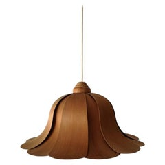 Wood Pendant Lamp by Hans-Agne Jakobsson for AB Ellysett Markaryd, 1960s, Sweden