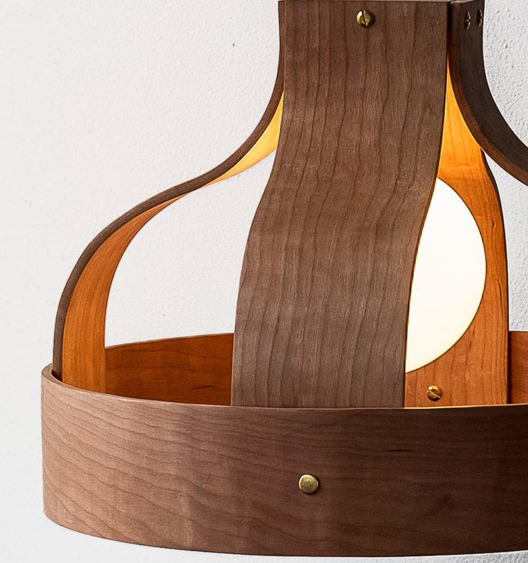 Modern Wood Pendant Light, Bound by Carnevale Studio, Cherry For Sale
