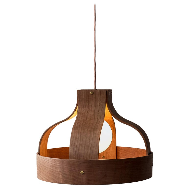 Wood Pendant Light, Bound by Carnevale Studio, Cherry For Sale