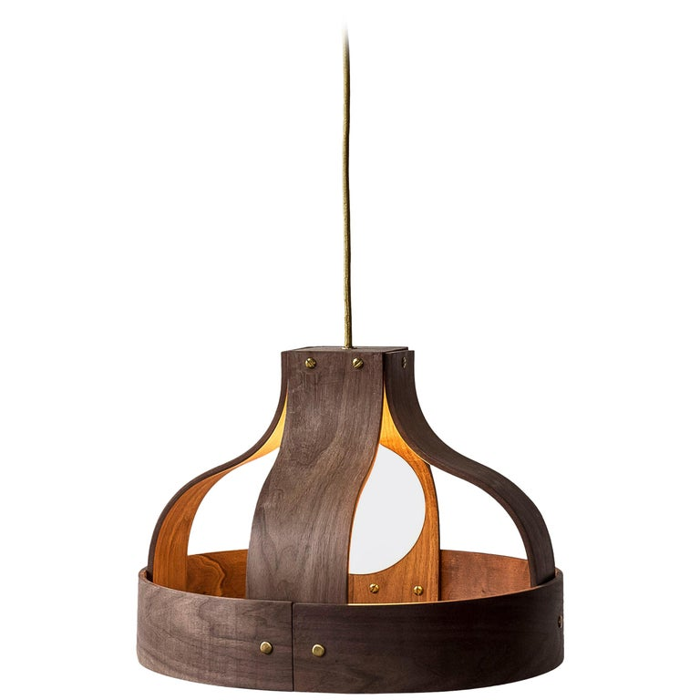 Wood Pendant Light, Bound by Carnevale Studio, Walnut For Sale